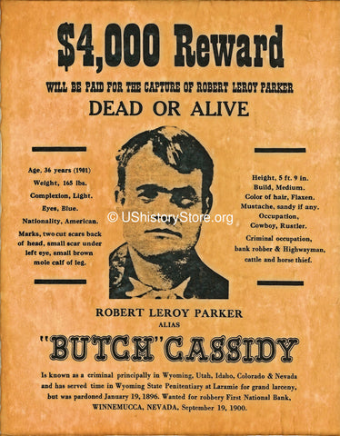 butch cassidy 4 000 reward wanted poster 1900