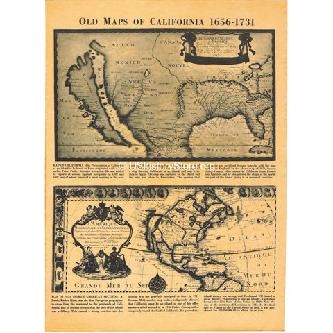 California - Historical Maps 1636 and 1731