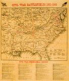 Civil War Battlefields Map Poster [small poster size]