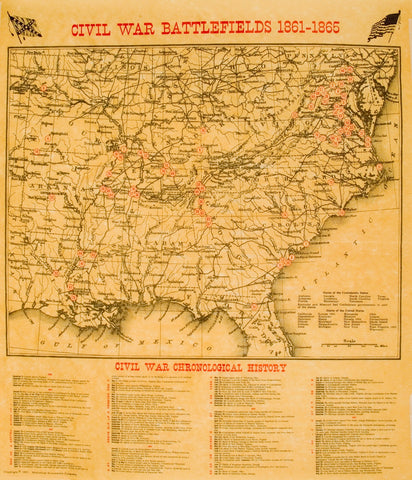 Civil War Battlefields Map Poster [large poster size]