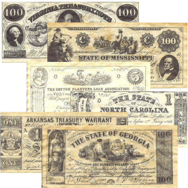Confederate States Civil War Era Replica Currency Set A