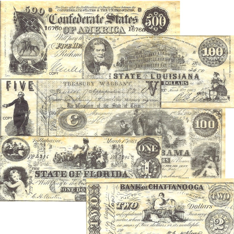 Confederate States Civil War Era Replica Currency Set B