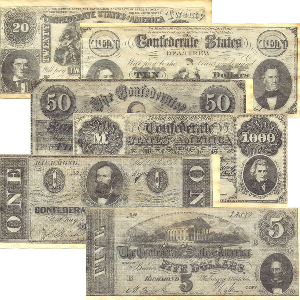 Confederate States Civil War Era Replica Currency Set C