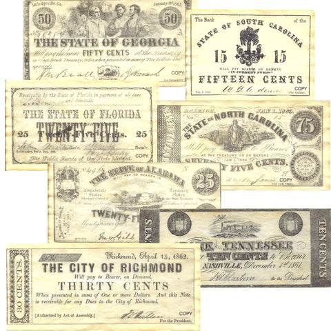 Confederate States Civil War Era Replica Currency Set D