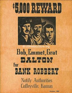 Dalton Brothers $5,000 Reward Wanted Poster 1892