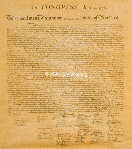 "Declaration of Independence Replica - 14"" x 16"" Parchment Poster"