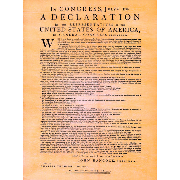 Dunlap Declaration - first printed version of the Declaration of Independence