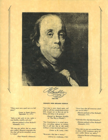 Benjamin Franklin - Portrait and Thoughts