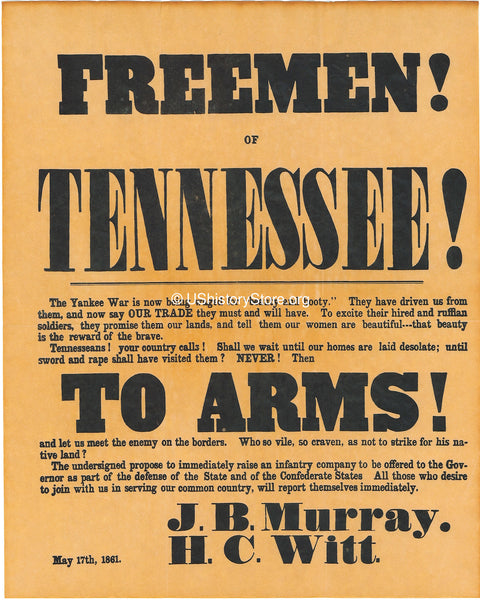 Freemen of Tennesee to Arms Recruiting Poster