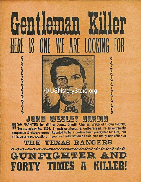 Gentleman Killer Wanted Poster 1874