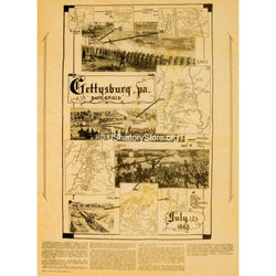 Gettysburg Battlefield Map July 1,2, and 3, 1863