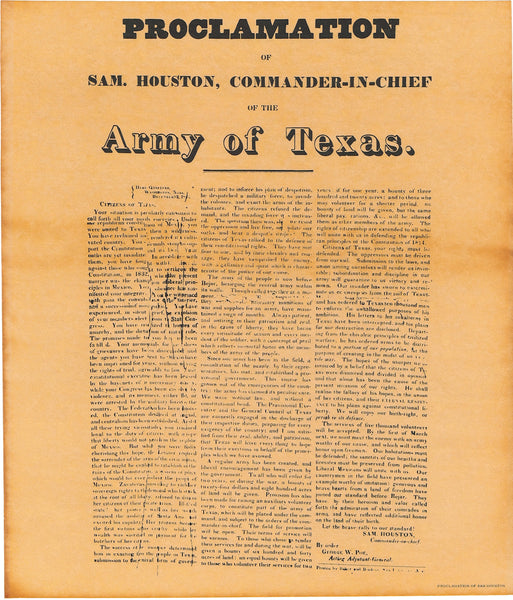 Proclamation of Sam Houston 1835