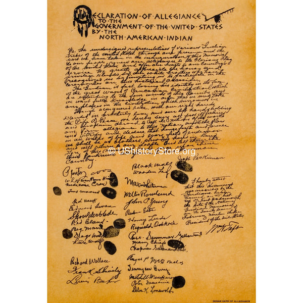 American Indian Declaration of Allegiance to the U.S. 1913