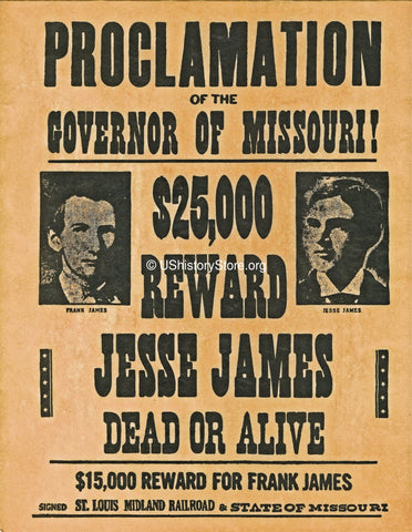 James Brothers $25,000 Reward Wanted Poster