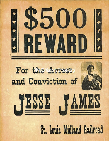 Jesse James $500 Reward Poster