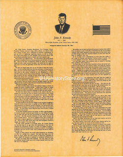 President John F. Kennedy's Inaugural Address 1961 [small poster size]