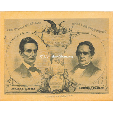 Abraham Lincoln &  Hannibal Hamlin 1860 Campaign Poster