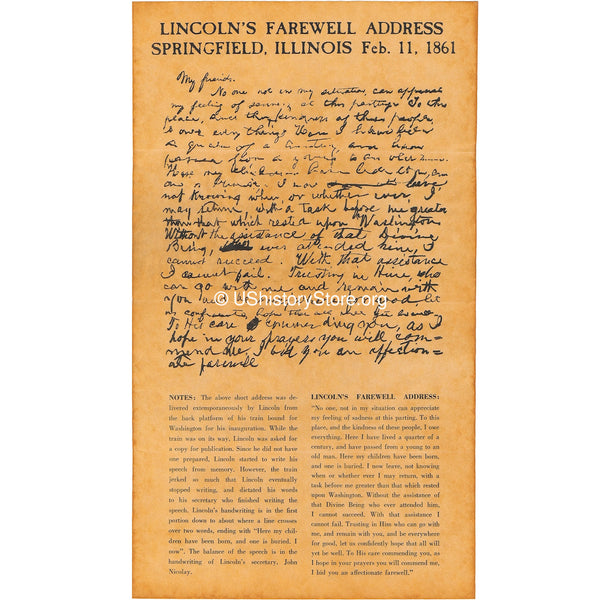 Abraham Lincoln - Farewell Address, Springfield, IL, Feb. 11, 1861