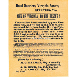 Men of Virginia Civil War Recruiting Poster 1861