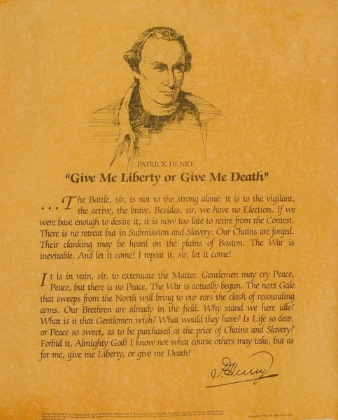 Patrick Henry - Give me Liberty Speech 1775 & picture