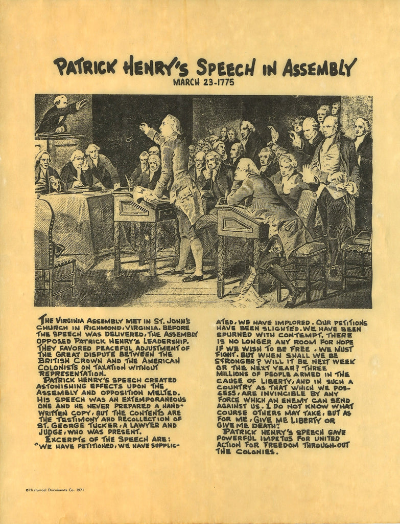 patrick henrys speech Speaking from experience, growing up in school, we were given a brief history of patrick henry and a snippet of his infamous speech we were never asked about how his speech was ironic come to think of it, we were not really taught much about slavery other than the dates, places, and people in politics at the time.