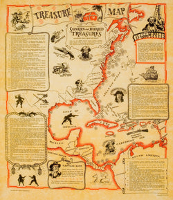 Pirate Treasure Map of Sunken and Buried Treasure [large poster size]