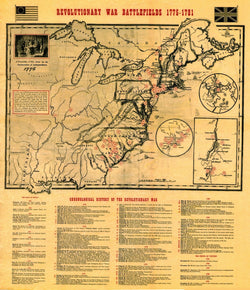 Revolutionary War Battlefields Map [small poster size]
