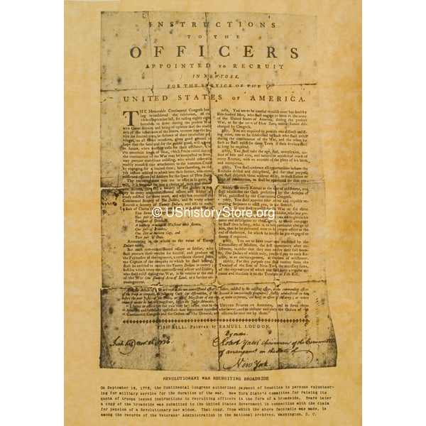 Revolutionary War Recruiting Broadside