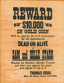 Sam & Belle Starr $10,000 Reward Wanted Poster