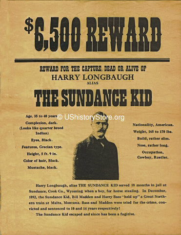 The Sundance Kid $6,500 Reward Wanted Poster 1892