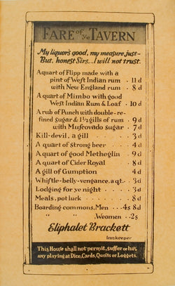 "Colonial Era ""Fare of Ye Tavern"" Wine & Liquor Menu"