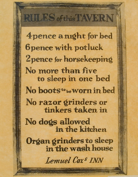 Rules of this Tavern - Colonial Lodging Price List & Rules