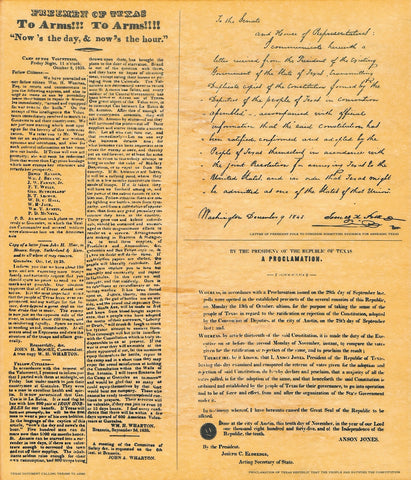 Texas History poster - depicts 3 documents - 1835 - 1845