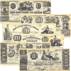 Republic of Texas Replica Currency 1838-1841