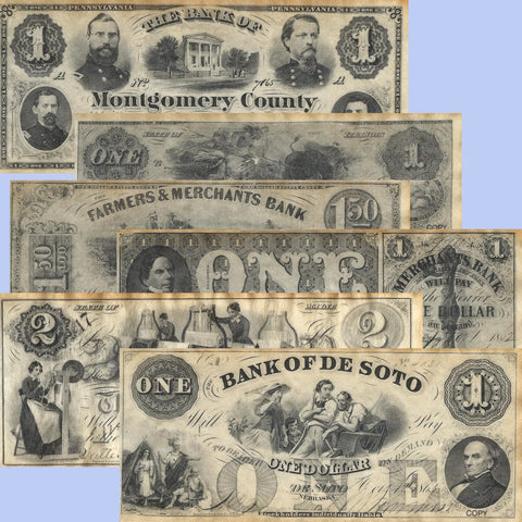 Union States Civil War Era Replica Currency 1861-1865