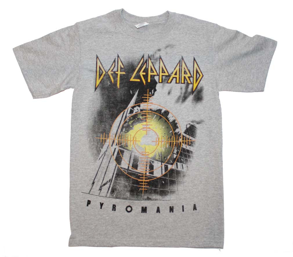 Def Leppard Target Pyromania Heather Gray T-Shirt Small - X-Large