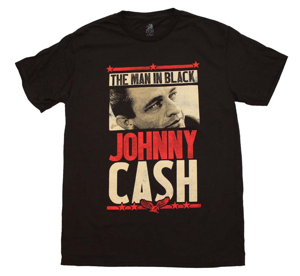 Johnny Cash Man in Black T-Shirt Small - X-Large