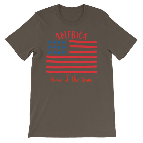 America Home f the brace flag Army green Unisex short sleeve t-shirt