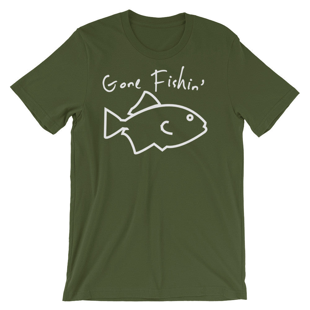 Gone Fishin' Olive Green Unisex short sleeve t-shirt