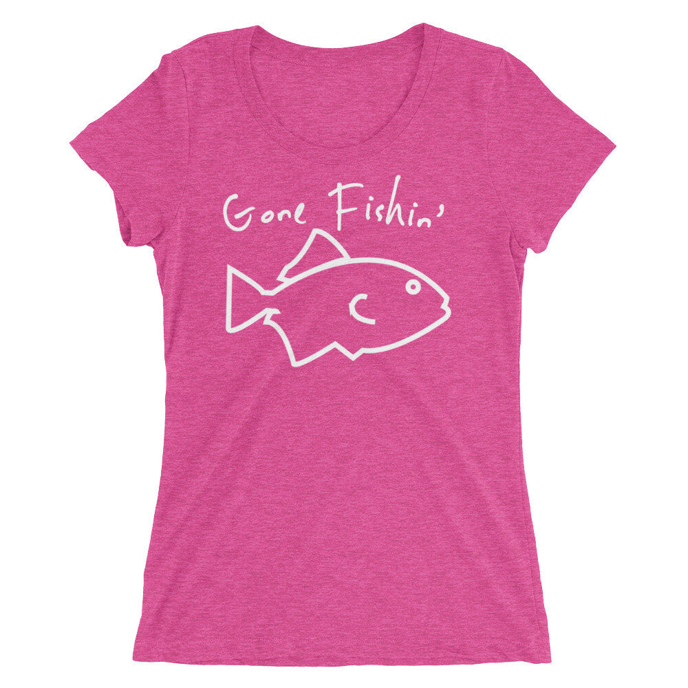 Pink Gone Fishin' Ladies' short sleeve t-shirt