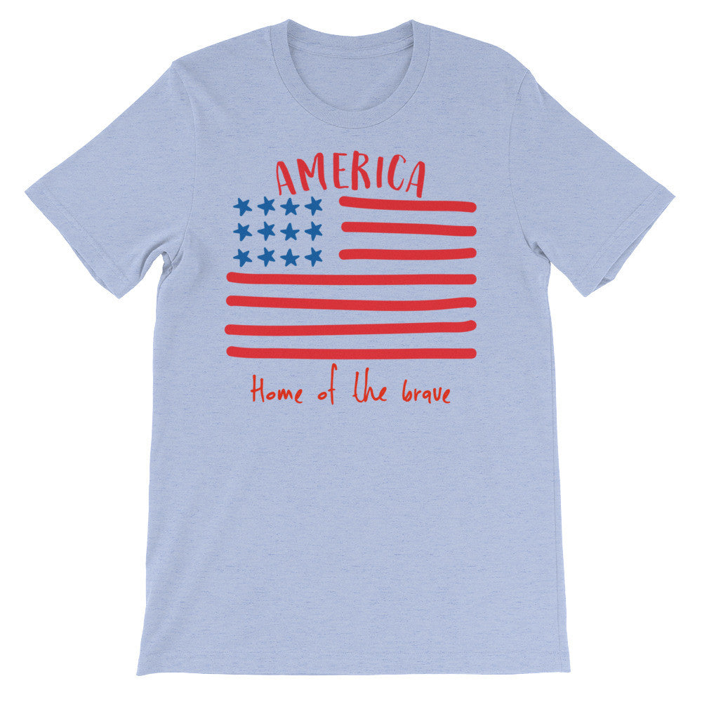 America Home vet military flag Army green Unisex short sleeve t-shirt