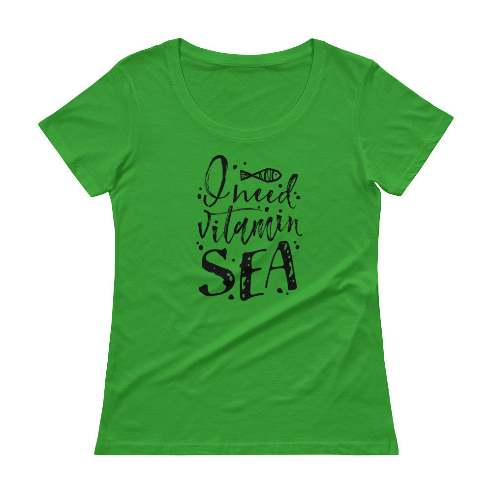 I need vitamin sea summer vacation beach Ladies' Scoopneck T-Shirt