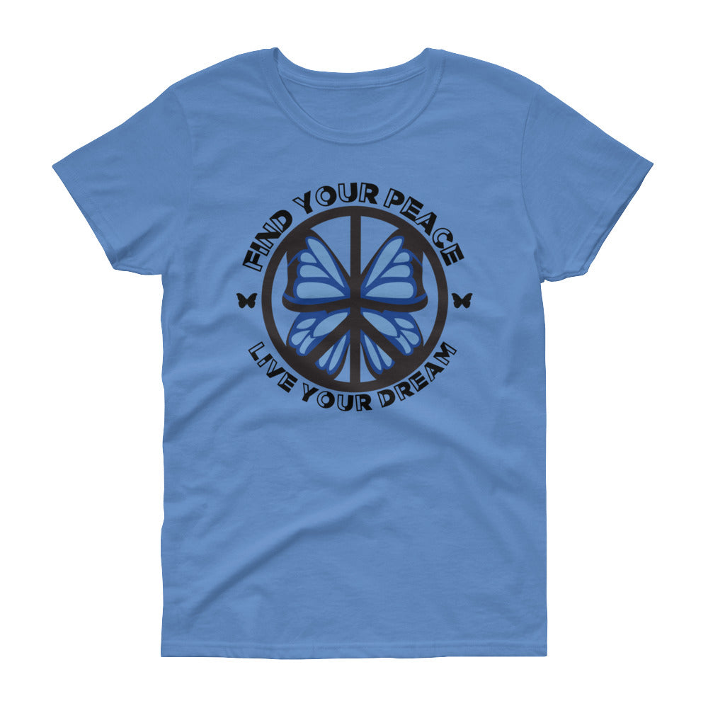 Blue Butterfly Find your Peace Women's short sleeve t-shirt