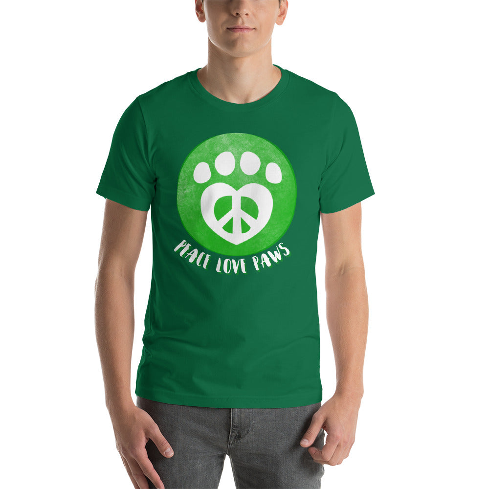 Peace Love Paws Dog Lovers Short-Sleeve Unisex T-Shirt