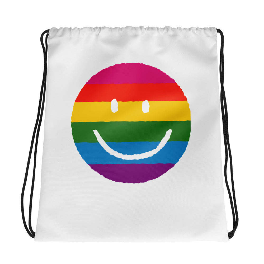 Rainbow Smile Face Drawstring bag