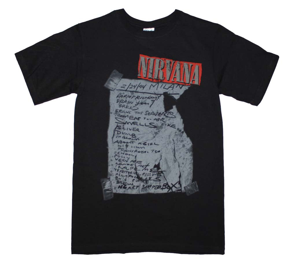 Nirvana Milan Set List T-Shirt Small -  X-Large