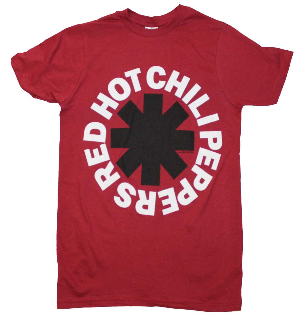 Red Hot Chili Peppers Black Asterisk Red T-Shirt Small - X-Large
