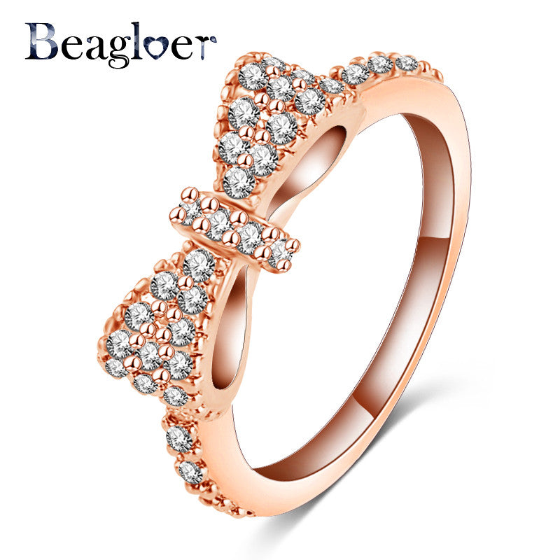 Beagloer Bow Micro Inlay Cubic Zirconia Ring