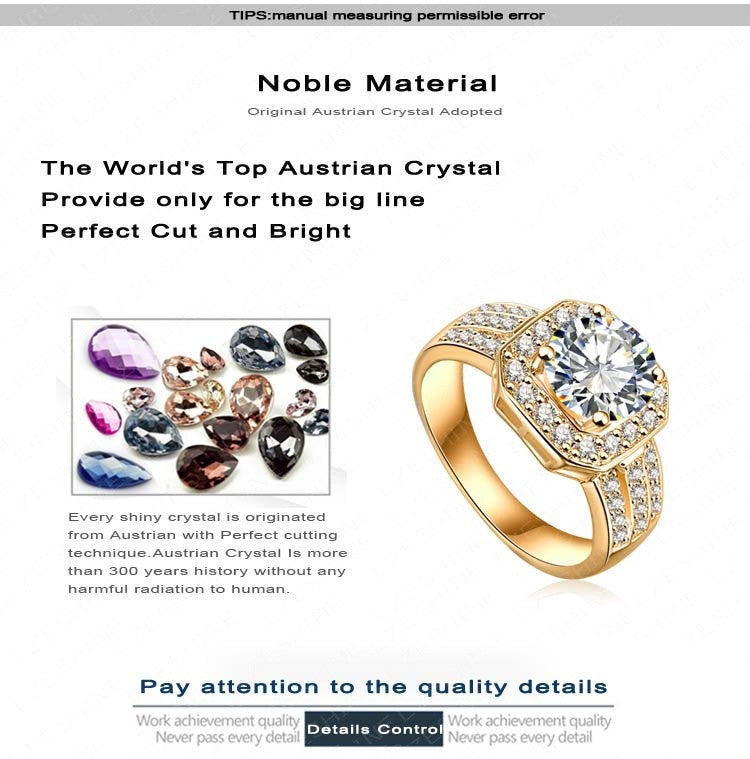 Beagloer Trendy Gold Square Shape Austrian Crystal Rings