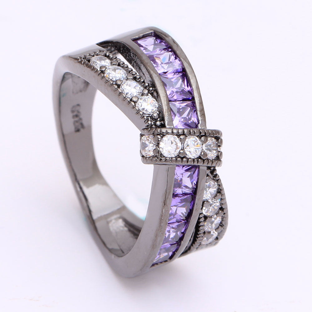 Hainon Amethyst Cross Finger Rings in paved CZ Zirconia